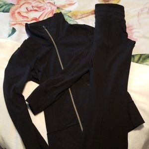 Lululemon black legging and zipup hoodie set